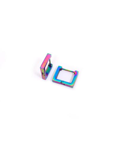 Rainbow Kare Erkek Çelik Küpe