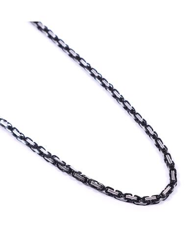 Silver-Black İthal 316L Çelik Zincir Kolye