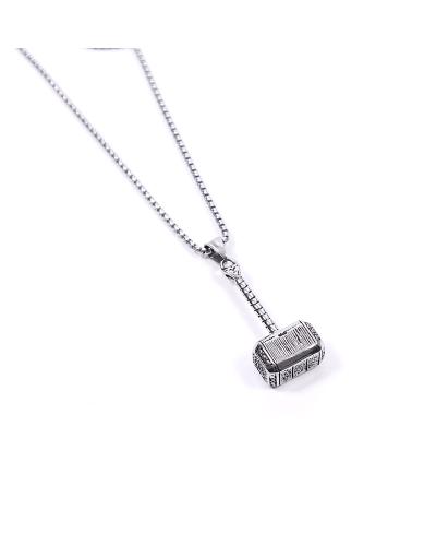Thor Çekiç İthal 316L Çelik Silver Zincir Kolye