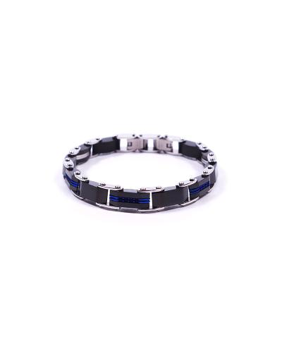 Silver Mavi Siyah 316L Çelik Erkek Bileklik