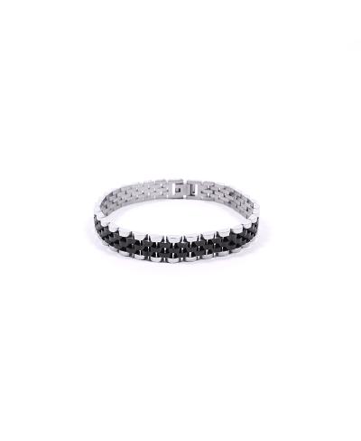 Silver Siyah 316L Çelik Erkek Bileklik