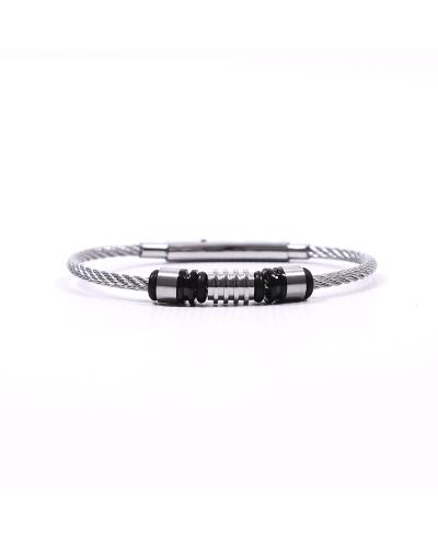 Silver Siyah Hasır 316L Çelik Erkek Bileklik