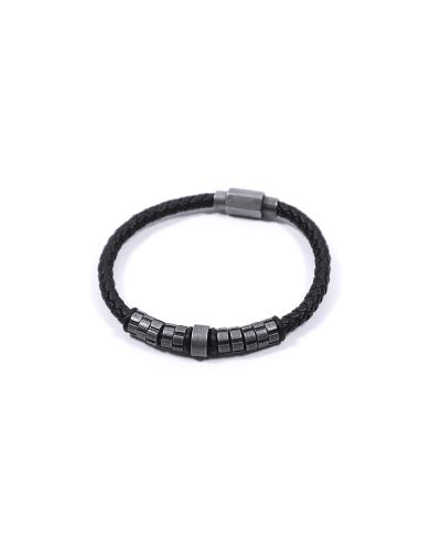 Antrasit Siyah 316L Çelik Deri Erkek Bileklik