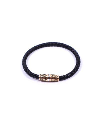 Gold Siyah 316L Çelik Deri Erkek Bileklik