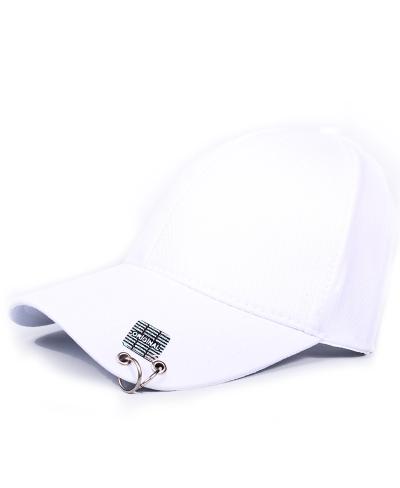 K-Pop Piercing Beyaz Şapka