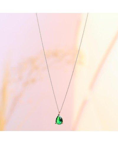 Yeşil Zirkon Taş Rodyum Kolye